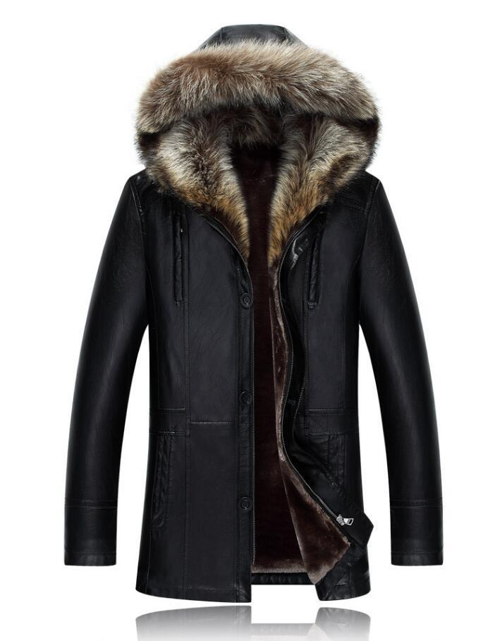 Genuino de los hombres chaqueta de cuero abrigos de invierno real de piel de mapache cuello con capucha de cachemira Tops nieve Outwear el sobretodo gruesos calientes al aire libre del tamaño extra grande