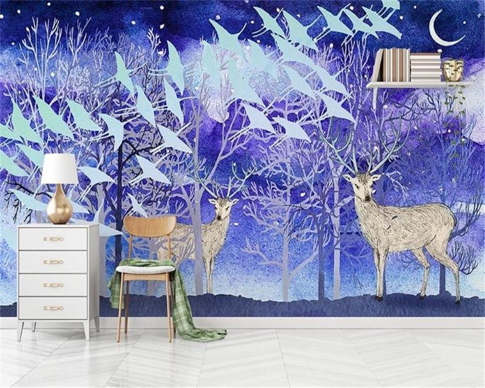 3d цифровой печати обои Nordic Elk леса птица пейзаж фон стена Customized Расширенные Водонепроницаемые обои