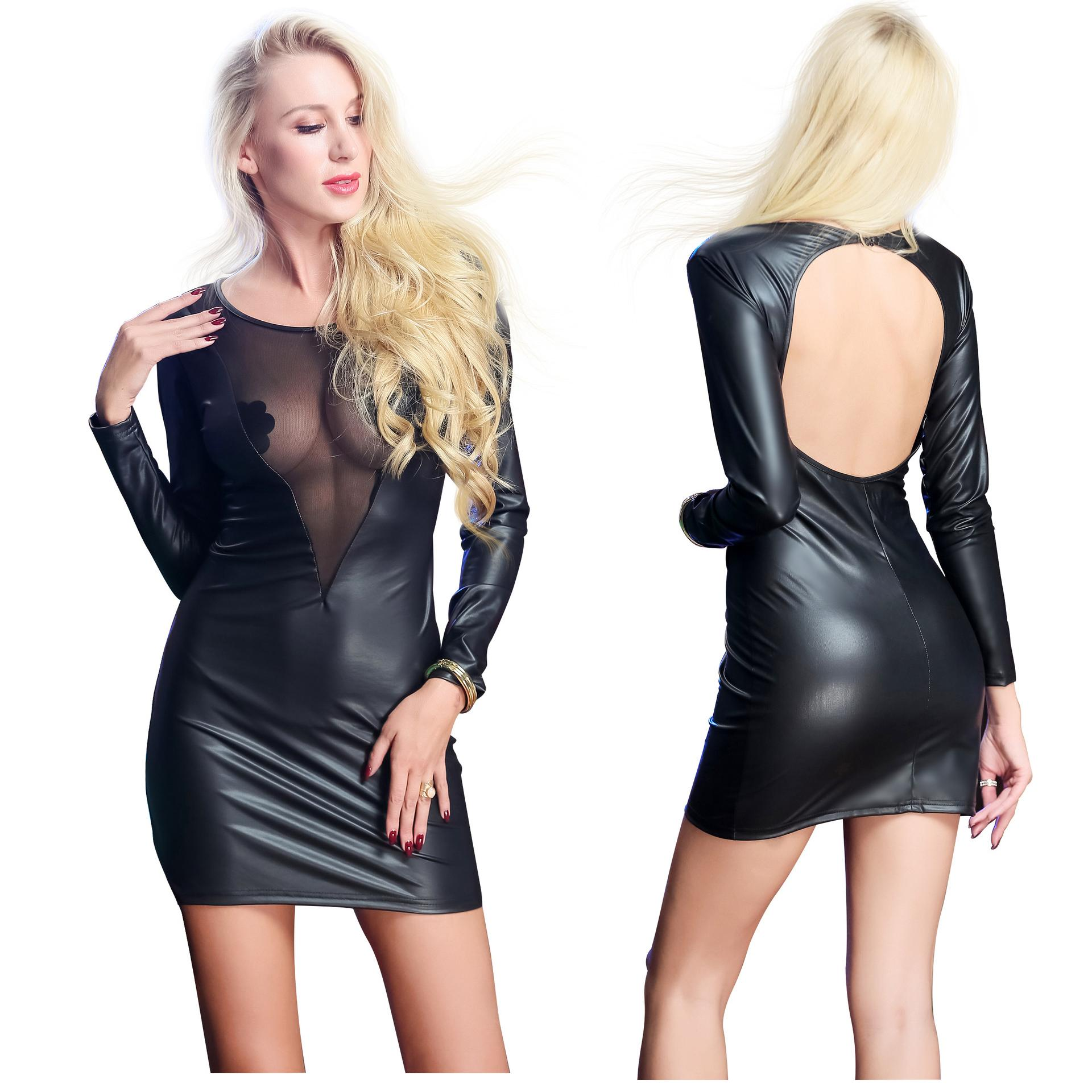 Livraison gratuite sexy en cuir à manches longues robe dame Tight évider Backless ClubWear tenues boîte de nuit femme Party performance scénique