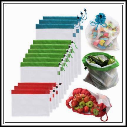 5pcs/set Reusable Produce Bags Black Rope Mesh Bags Fruit Vegetable Toys Mesh Storage Bags Washable Eco Friendly Pouch CCA10047 10set