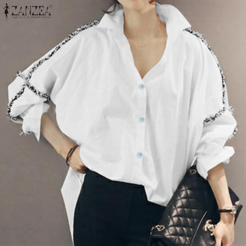 2020 Zanzea Womens Blouse 2020 Spring Fashion Ladies Long Sleeve Solid Shirts Work Office Buttons Cotton Tunic Tops Chemiser Mujer From Pileilang 18 56 Dhgate Com
