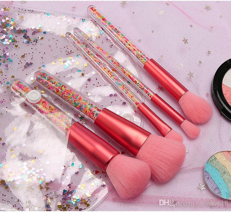 Wholesale 5pcs Pink Candy Makeup Brush Set Beauty Cosmetics Makeup Brushes Foundation Blending Face Brush Make Up Brushes Tool maquillaje