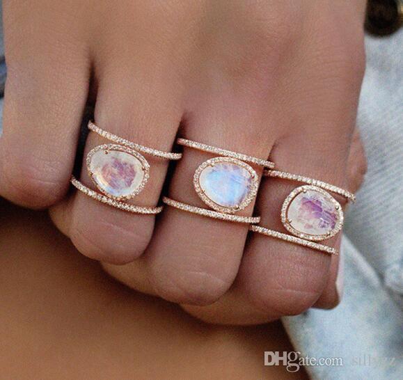 Novo anel Moonstone natural irregular; Anel de dedo microincluído em ouro rosa 14k galvanizado. Tamanho 6 7 8 9 10