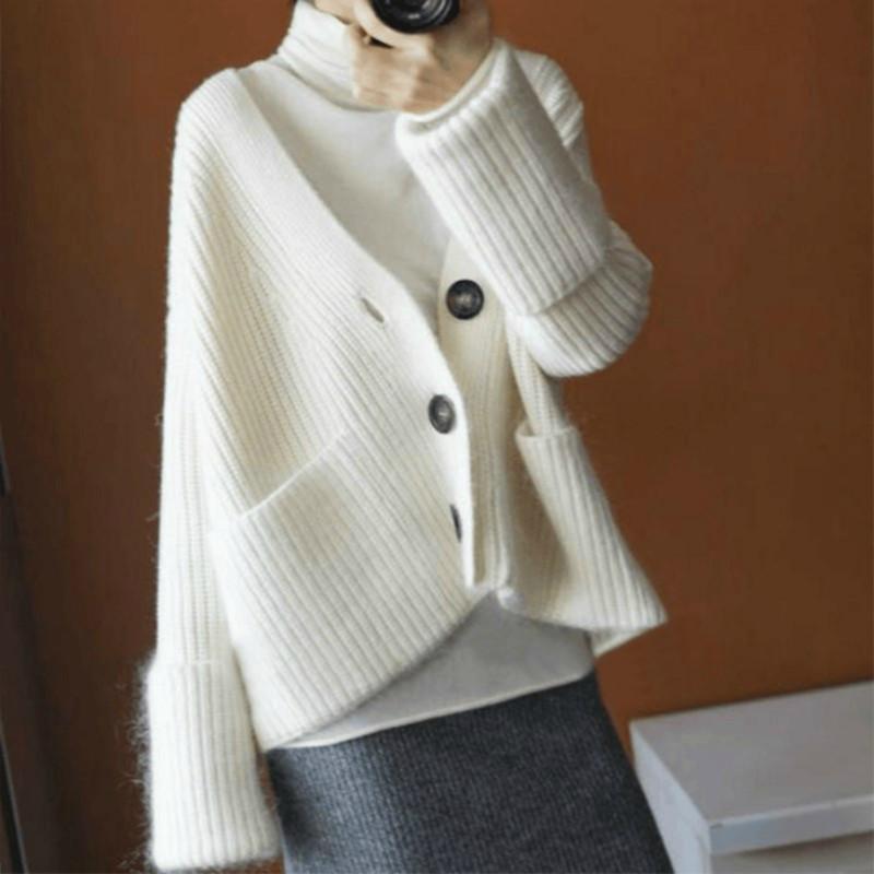 Женские свитера женские кардиганы 100% кашемировые и шерстяные трикотажные одежды высокое качество женской женщины толстая одежда 4 цветов женские вершины