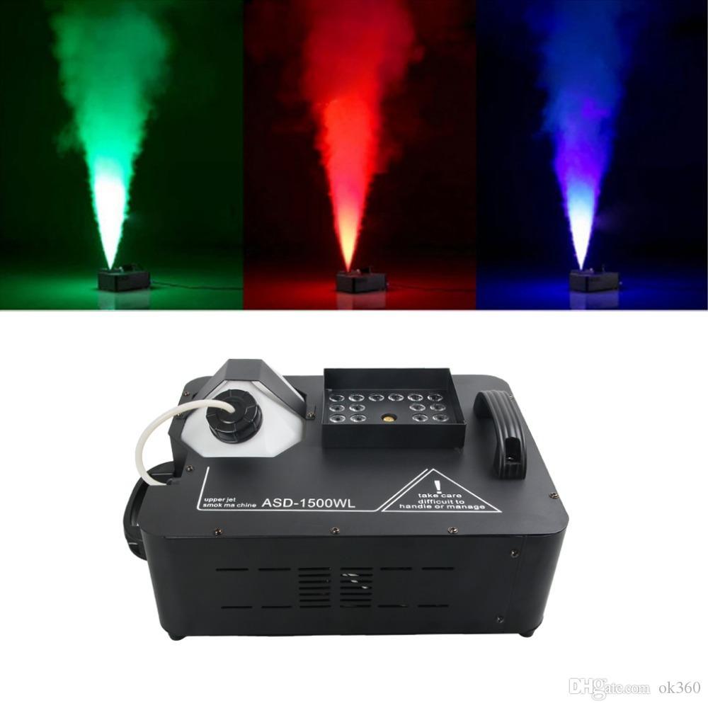 Máquina de humo LED 1500W RGB 3in1 Máquina de humo inalámbrica y DMX512 con luces de escenario 24X9W Máquina profesional DJ Bar Hogar Fogger