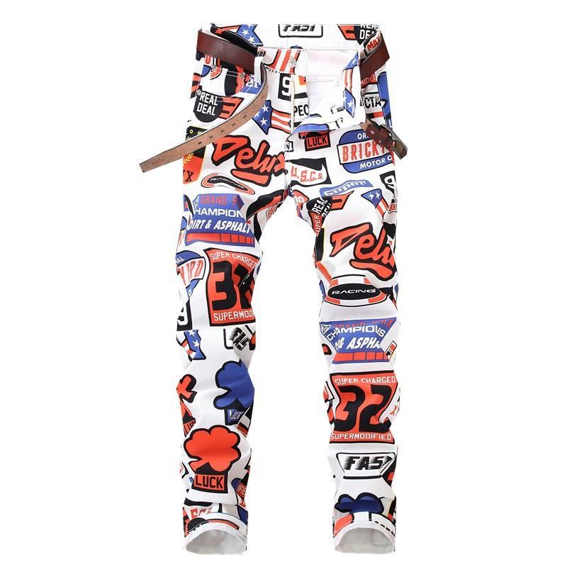 Uomo Pantaloni jeans nuovo stile pantaloni dritti lusso verniciato bianco Zipper Magro pantaloni della matita dei jeans per gli uomini