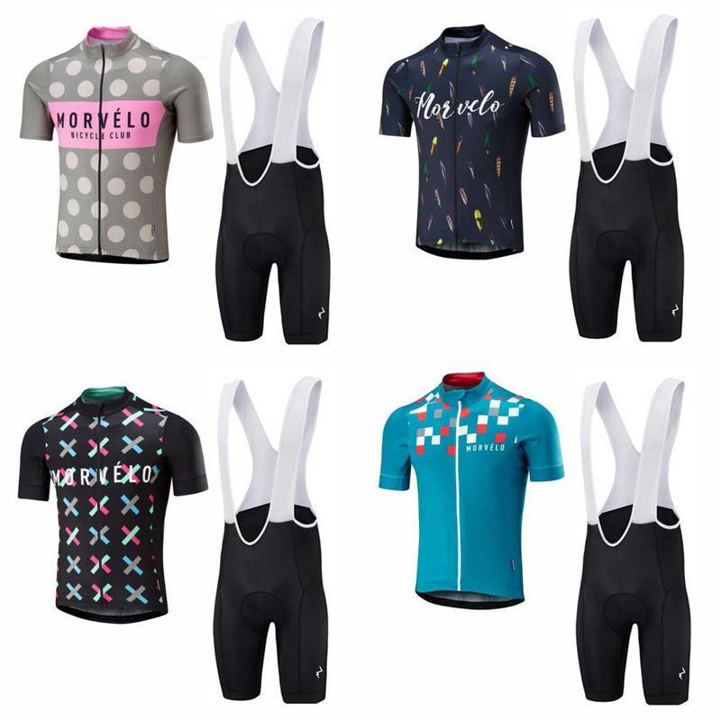 Equipo Morvelo Ciclismo Mangas cortas jersey (babero) conjuntos cortos Venta caliente Mangas cortas MTB Ropa Ciclismo verano estilo c2603