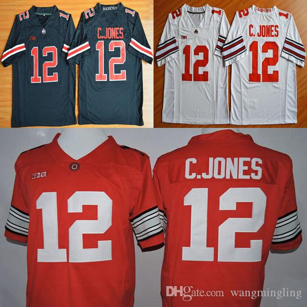 Men college Ohio State Buckeyes jerseys white black red #12 Cardale Jones adult size osu football jersey stitched free shipping
