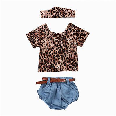 Sommer 2017 3Pcs Neugeborenes Baby-Kleidungs-Satz Leopard Kurzarmhemd + Denim Short + Stirnband Kinderkleidung Outfits