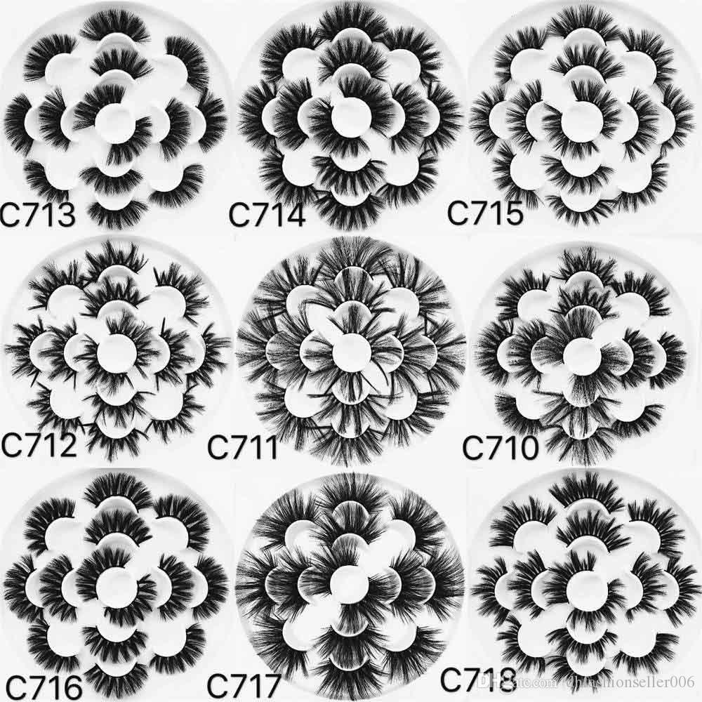 9 Estilos Dramáticos Longo Falso 25mm 27mm 5D cílios vison 7 pares 16 * 16 flor cílios bandeja livro C710-C718