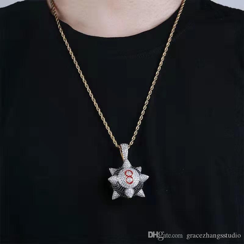 hip hop iced out Meteor hammer pendant necklaces men women luxury designer bling diamond Billiard 8 pendants 18k gold plated chain necklace