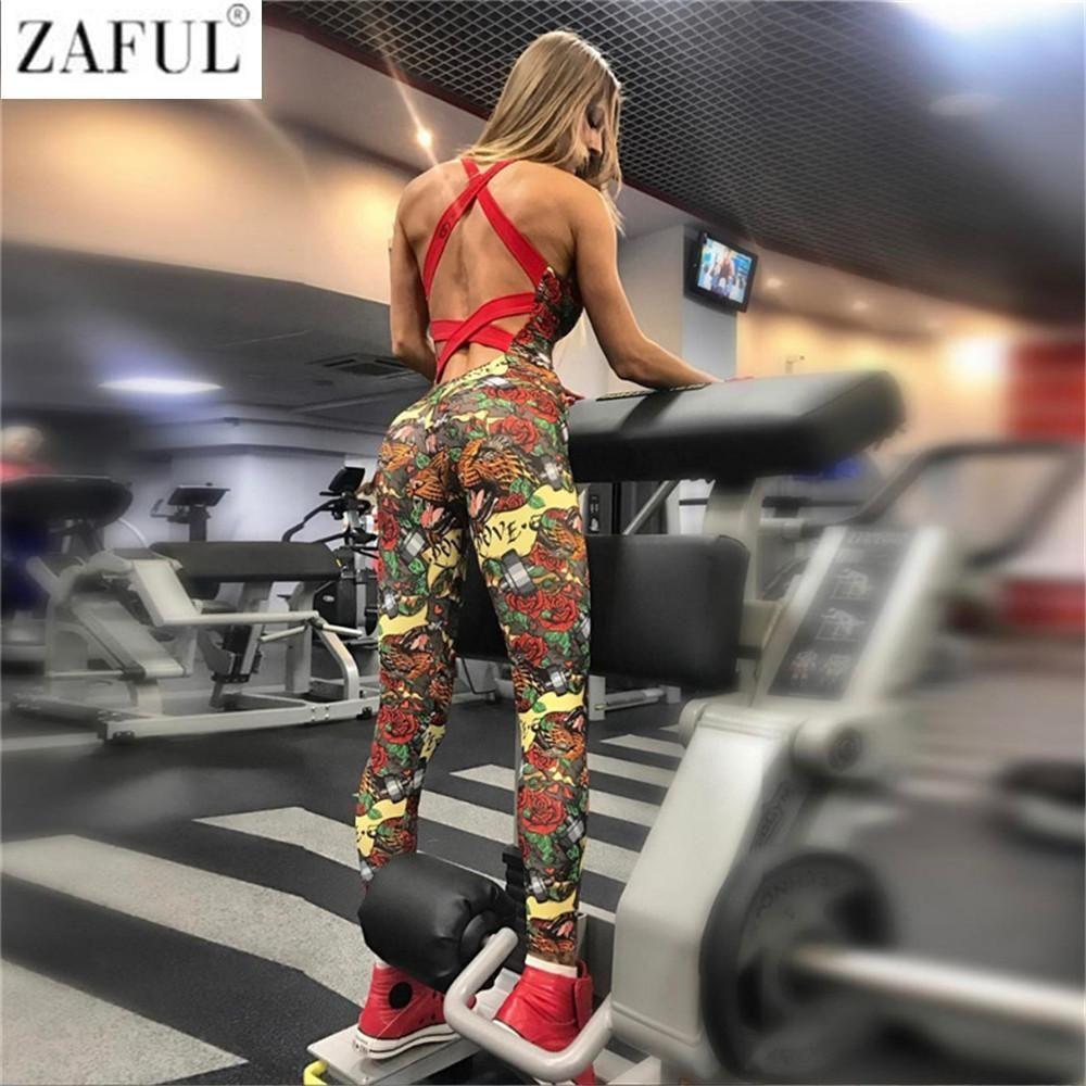 ZAFUL sexy di un pezzo del vestito Abbigliamento Palestra stampa floreale Backless imbottito Set Yoga fitness pantalone da corsa Wear Danza Sportiva Ginnastica Copre