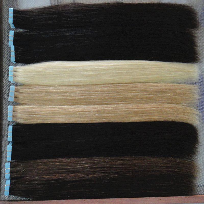 Fita de atacado em extensões de cabelo humano cores de trama de pele loira remy cabelo 16 a 24 polegadas 20 pçs / saco, 40g, 50g, 60g frete grátis