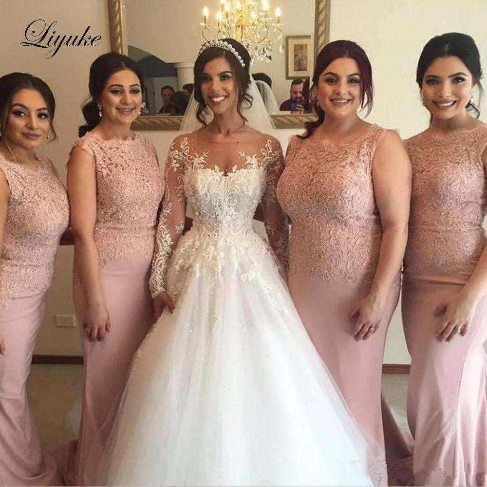 Abiti da damigella d'onore per sirena in raso rosa 2019 Applique Scoop Cap Manica in pizzo Abiti da cerimonia per feste per matrimoni Abiti su misura Plus Size Liyuke