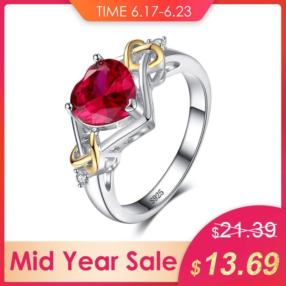 Jewelrypalace Love Knot Heart 2.5ct Created Red Ruby Anniversary Promise Ring 925 Sterling Silver 18k Yellow Gold Women Fashion J190613