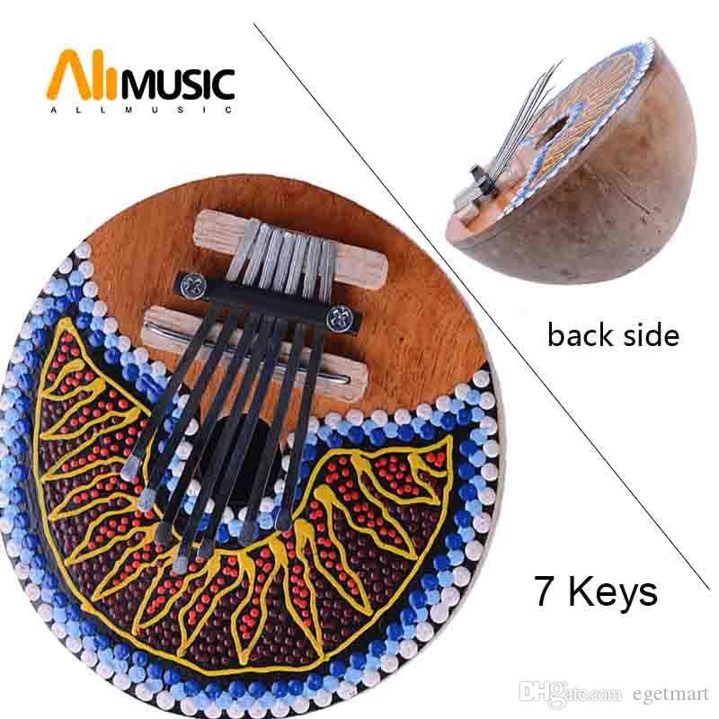 7 Tuşlar Kalimba Thumb Piano Tunable Hindistan Cevizi Kabuğu Boyalı Müzik Enstrüman
