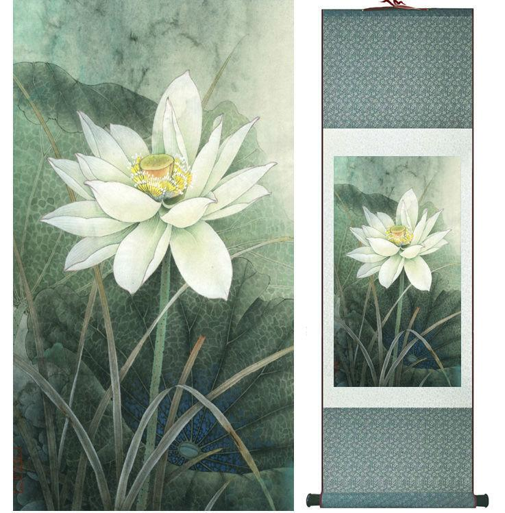 Lotus Flower Painting Water Lily Painting Chinese Wash Painting Home Decoration No.32010