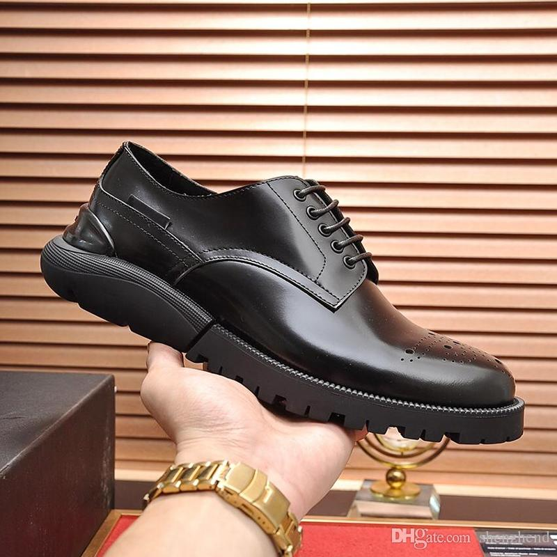 Fashion Classic Derby Shoes Breathable Mens Shoes Type Luxury Leather Dress Fashion Brands Sneakers Formal Party Office Wedding Shoes