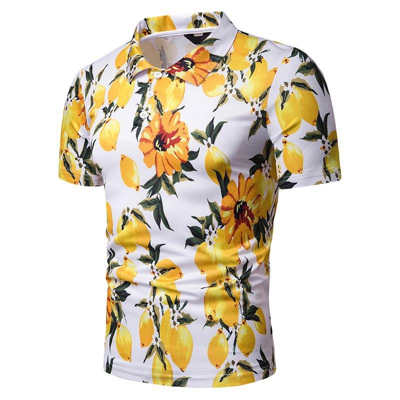 Новый стиль лето Мужчины Пляж Стиль Печатается с коротким рукавом рубашки Полот Pl71