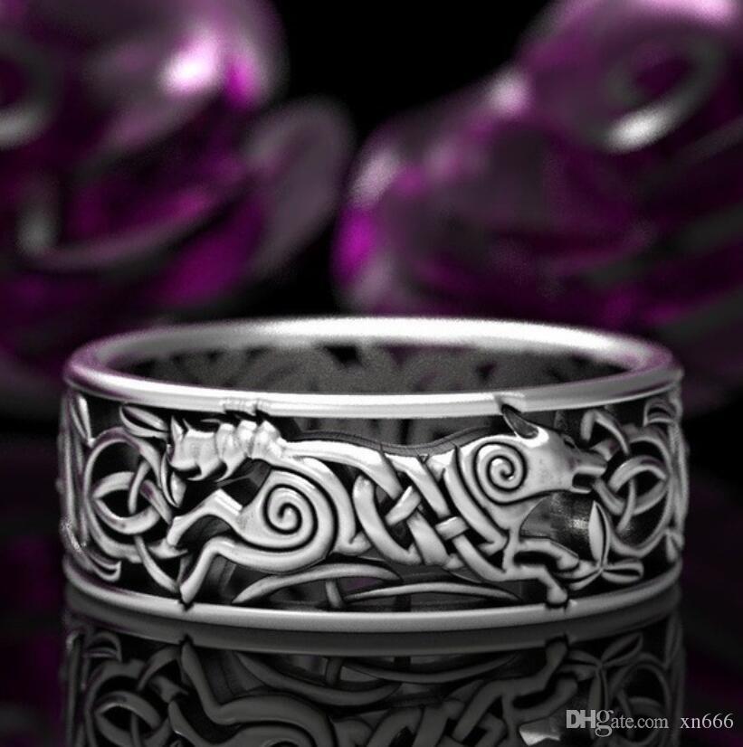 New Celtic Werwolf Ring Norwegen Nordic Viking Wolf geknotete Bindfäden 925 Thai Silber schwarz-beschichtet
