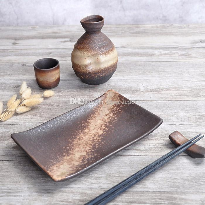 Rustico stile giapponese Sake ceramica Bottiglia Caraffa Coppa d'Oro di sabbia sulla Borwn Glaze modello Restaurant Wine Bicchieri