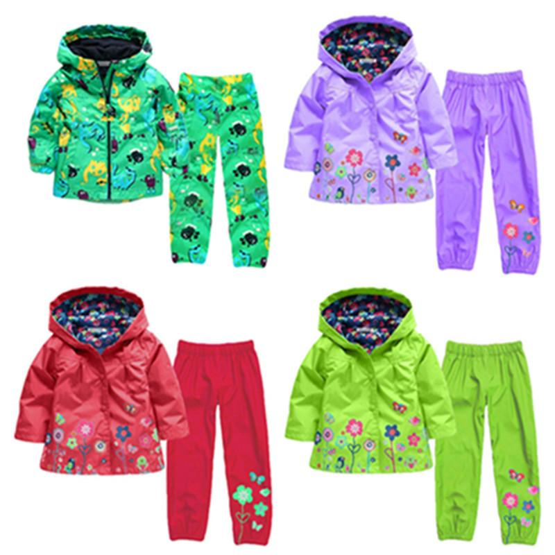 Children clothing set 2019 Spring Autumn baby boys clothes sets 2 Pcs raincoat outwear+pants Costume For girls Kids Clothe Y200525