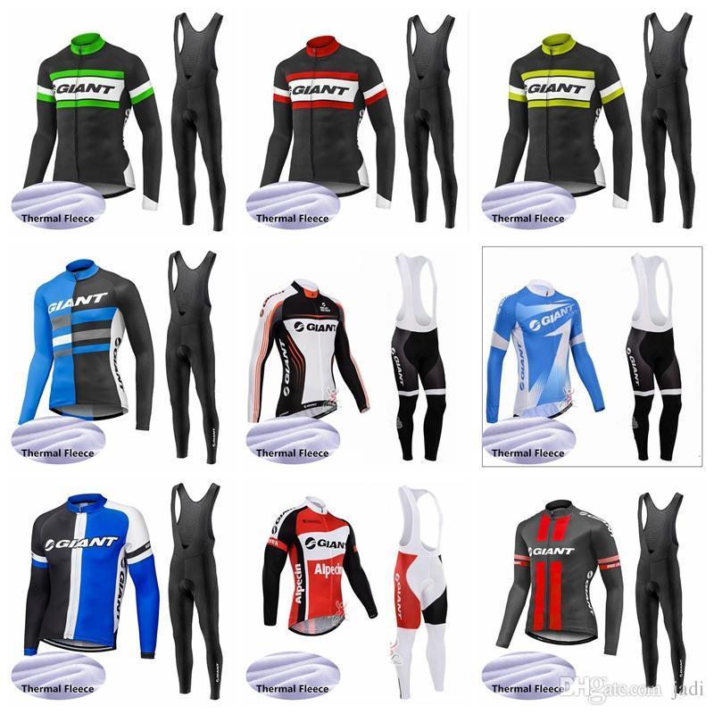 2019 giant team radfahren winter thermische fleece jersey (lätzchen) hosen sets langarm wärmer quick dry kleidung fahrradbekleidung k020106
