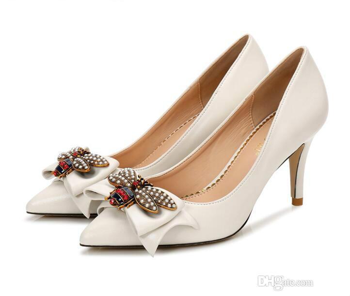 2020 роскошь G Дизайнер Модные Женщины Насосы ленты Bowtie Большие пчелы туфли на высоком каблуке невесты сексуальные заостренным Свадебная обувь 8 10 12см