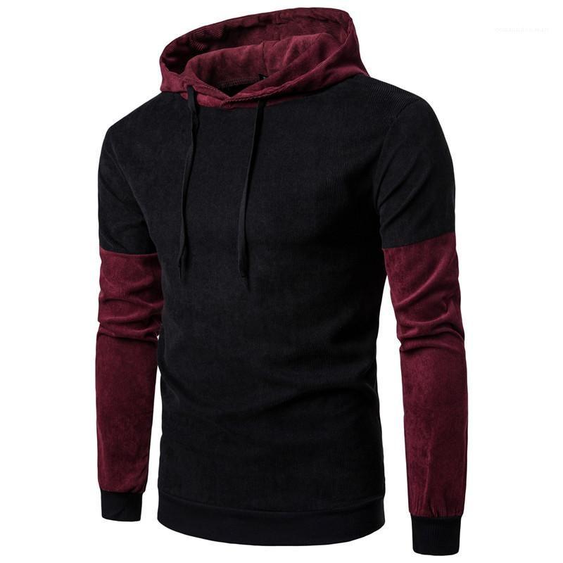 La personalidad del color del contraste suéter largo para hombre de la manga hoodies ocasionales Los hombres con paneles para hombre de la ropa del diseñador de moda sudaderas