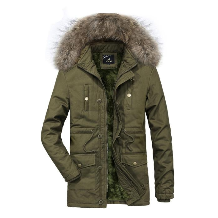 Mens Hooded Fur Collar Coat Solid Color Long Sleeve Keep Warm Jacket With Jacket Homme Winter Outwear