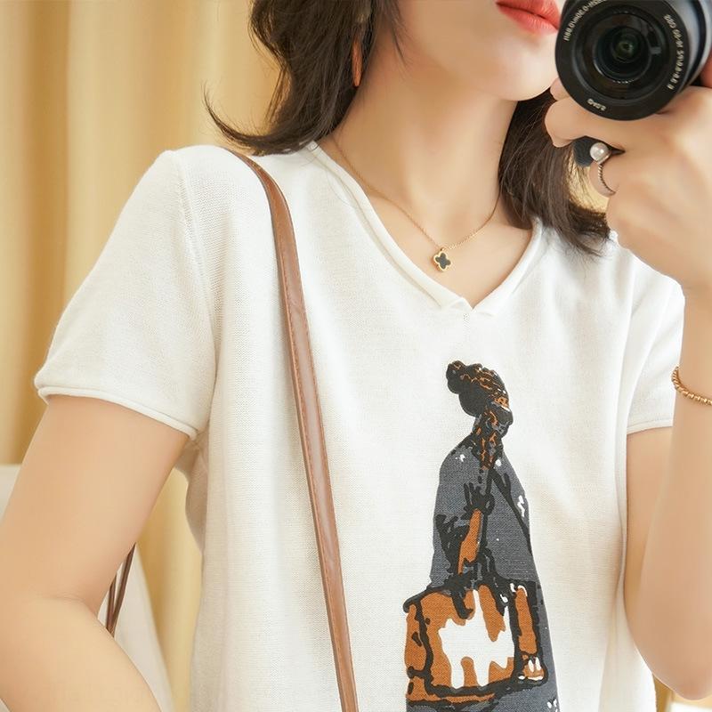 j0Y8B jersey de algodón jersey de primavera 2020 pulloverand pullovert-nueva camisa con cuello en V 5SRGK punto verano de las mujeres y la ropa del todo-fósforo de la moda sl