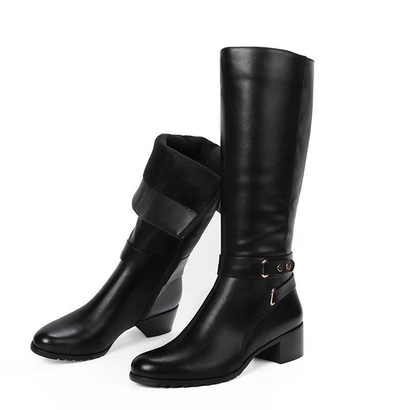 الشتاء المرأة الجديدة القطيفة رشاقته دافئ طويل أحذية أزياء جولة تو الكعوب ميد لينة أحذية ركوب الخيل سيدة عارضة الإبزيم أحذية Equeatrian