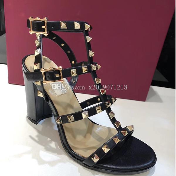Novo 2018 novas mulheres europeus rebites sandálias com 9,5 cm de altura rebites moda sandálias 6 tamanhos de cor 35-41