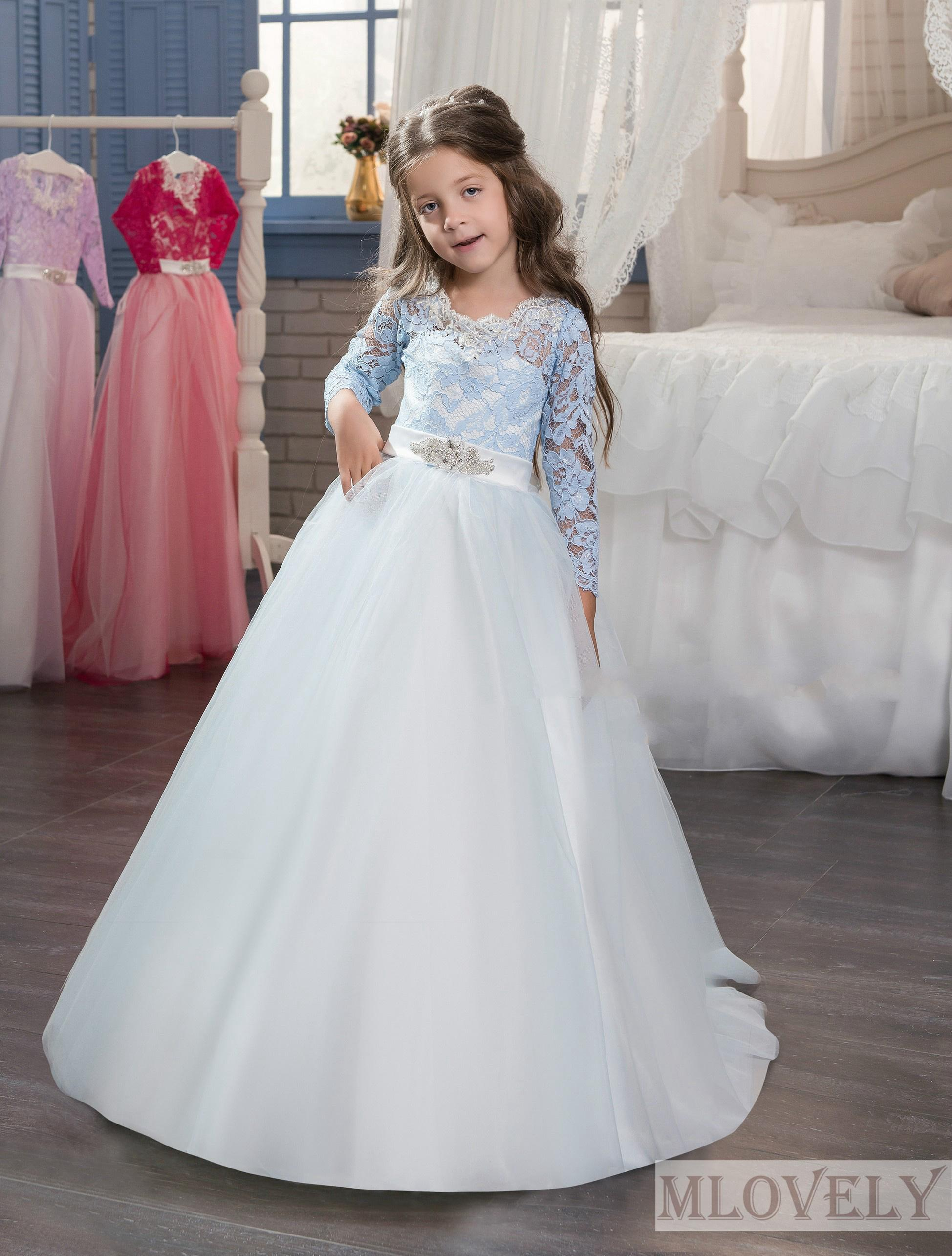 Lace Sleeve Gorgeous Ball Gown Blue Kids Girls Formal Dress Pageant for 5 6 7 8 9 10 year old