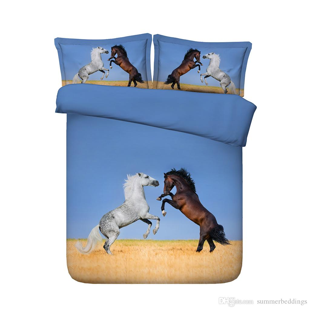 Horses Jumping In Desert 3D Horse Comforter Cover Set Cotton Microfiber Bedding Set 3 Piece Animals Horse Printed Duvet Cover Set