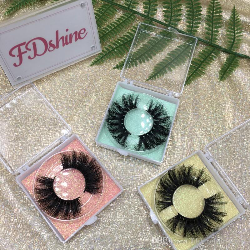 Crutely Ücretsiz Kalın Göz Lashes FDshine Packaging Kare Temizle Eyelash ile kabarık Lashes'ın 25mm 3D vizon kirpiklerini