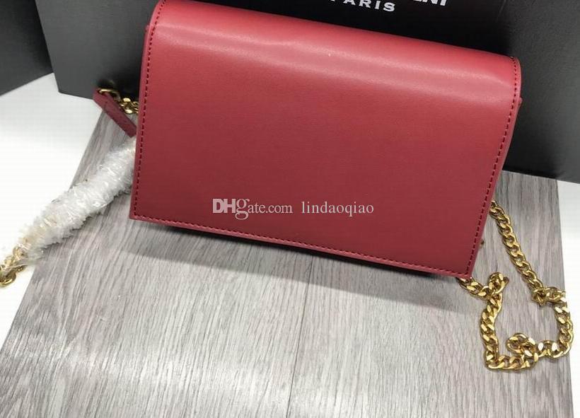 100% genuino in pelle Chian Bag di alta qualità di marca borse di design frizione borsa in pelle con marchio Y borsa catena di marca pochette