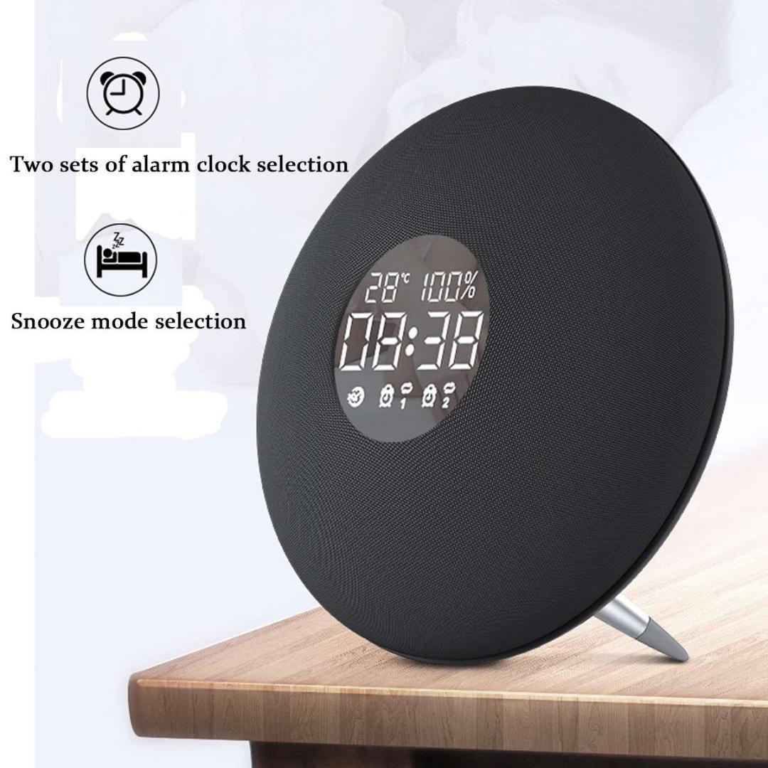 Despertador com Rádio FM 10 W 3600 mAh Sem Fio Bluetooth Speaker Aux Player de Música TF Tempo Real de Temperatura Ambiental de Exibição