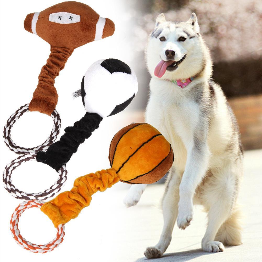Pet Köpekler Oyuncak Peluş Örgülü Pamuk Halat Spor Top Oyuncaklar Yavru Köpek Evcil Köpek Squeaker Için Ses Oyuncak Pet Malzemeleri