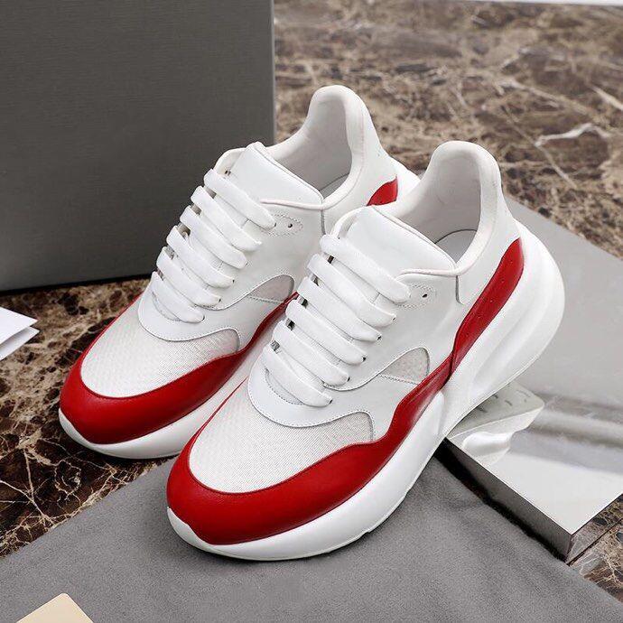 GRAN TAMAÑO de la plataforma RUNNER hombres zapatos casuales diseñador para mujer de cuero de la zapatilla de deporte en blanco rojo de la estrella de moda de lujo al aire libre Plate-forme