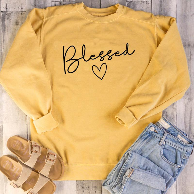 Blessed Christian Sweatshirts Women Jesus Faith Hope Love Pullover God Grace Festival cotton Autumn Heart Hoodies Drop Shipping Y200610