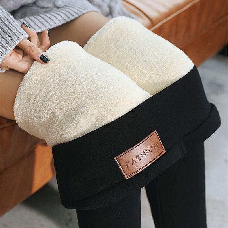 Les femmes d'hiver Épaissir plus Velvet Warm Up Leggings Femme longue solide élastique cachemire doux Pantalons pour femmes Pantalons Skinny Slim de V191111