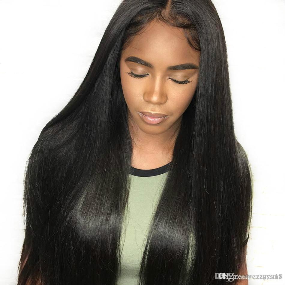 على التوالي الرباط الباروكات أمامي الهندي عذراء الشعر الإنسان 24 بوصة الإنسان طويل متوسط الشعر كتبها Perruque الحمين