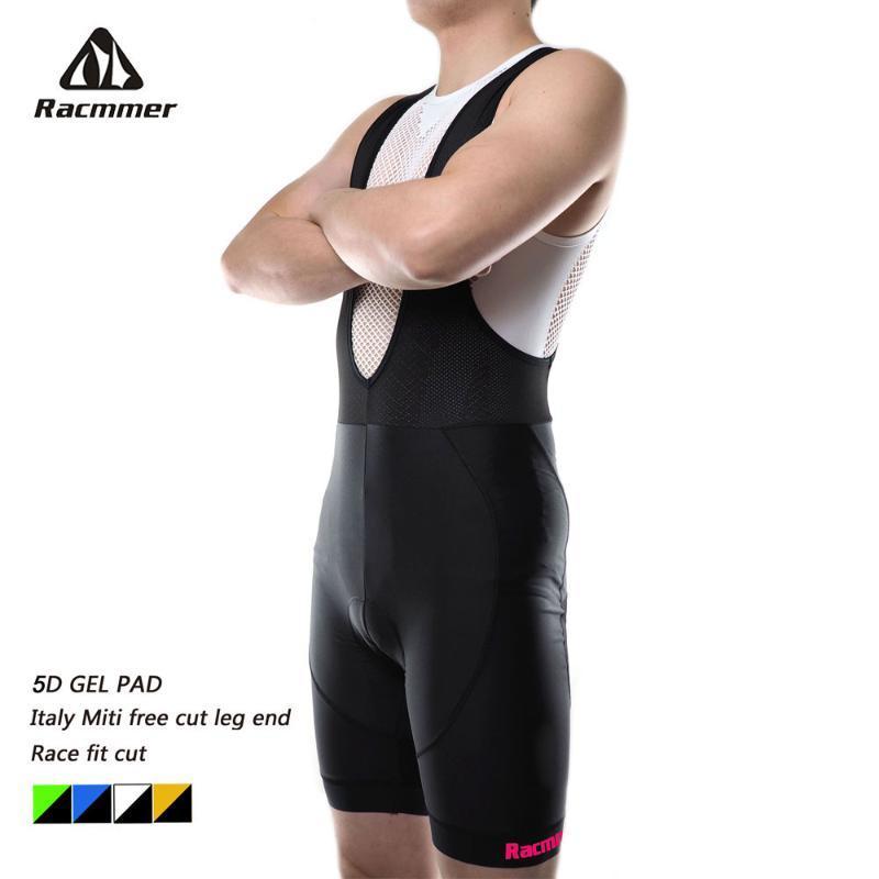 Racmmer 2020 Mens Cycling Bib Shorts Summer Triathlon 5D Gel Pad Bike Bib Tights Ropa Ciclismo Italy Silicon Grippers At Leg
