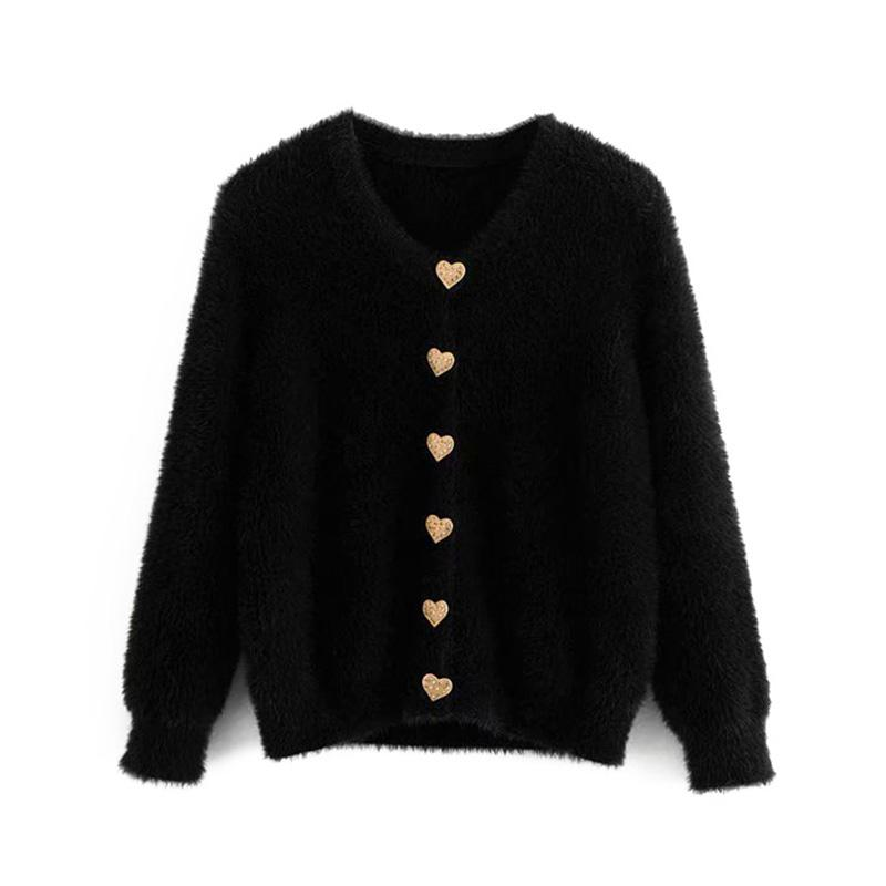 Vintage Heart-shaped Button Faux Fur Short Knitted Cardigan Sweater Women 2018 Fashion Long Sleeve Outerwear Casual Pull Femme