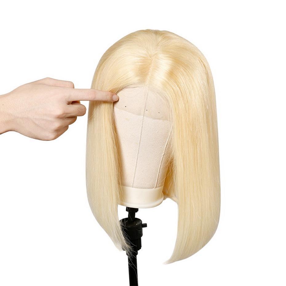 613 Blonde Бразильской Straight Human Боб Парики волос Remy Короткого Ombre Боб фронт шнурок парики для чернокожих женщин