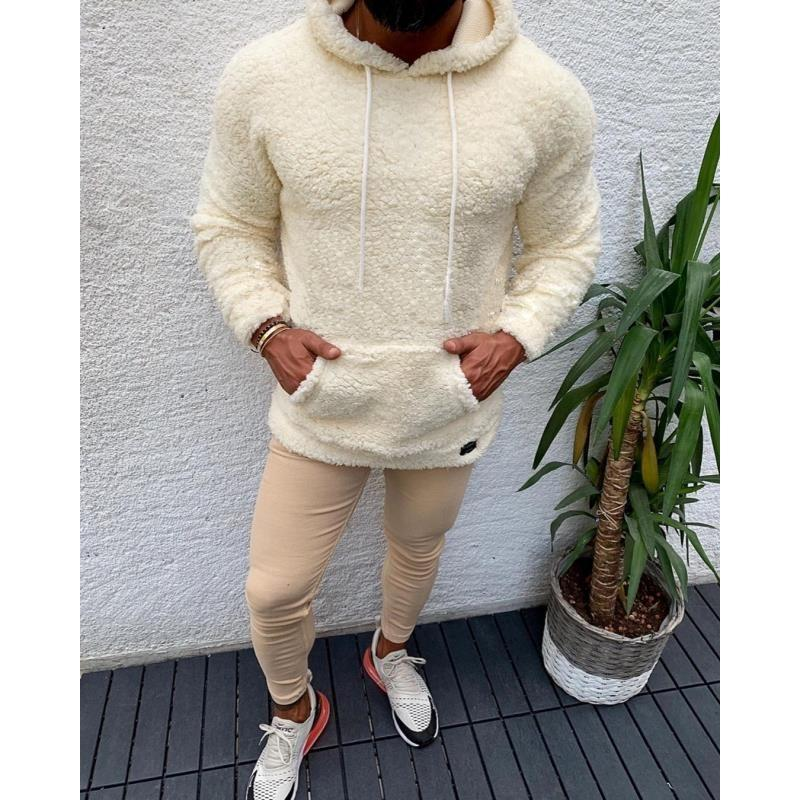 Neue Winter-mit Kapuze Sherpa Sweater große Tasche Teddy Fleece Fluffy Pullover Männer plus Größe Warm Fleece Tops Street