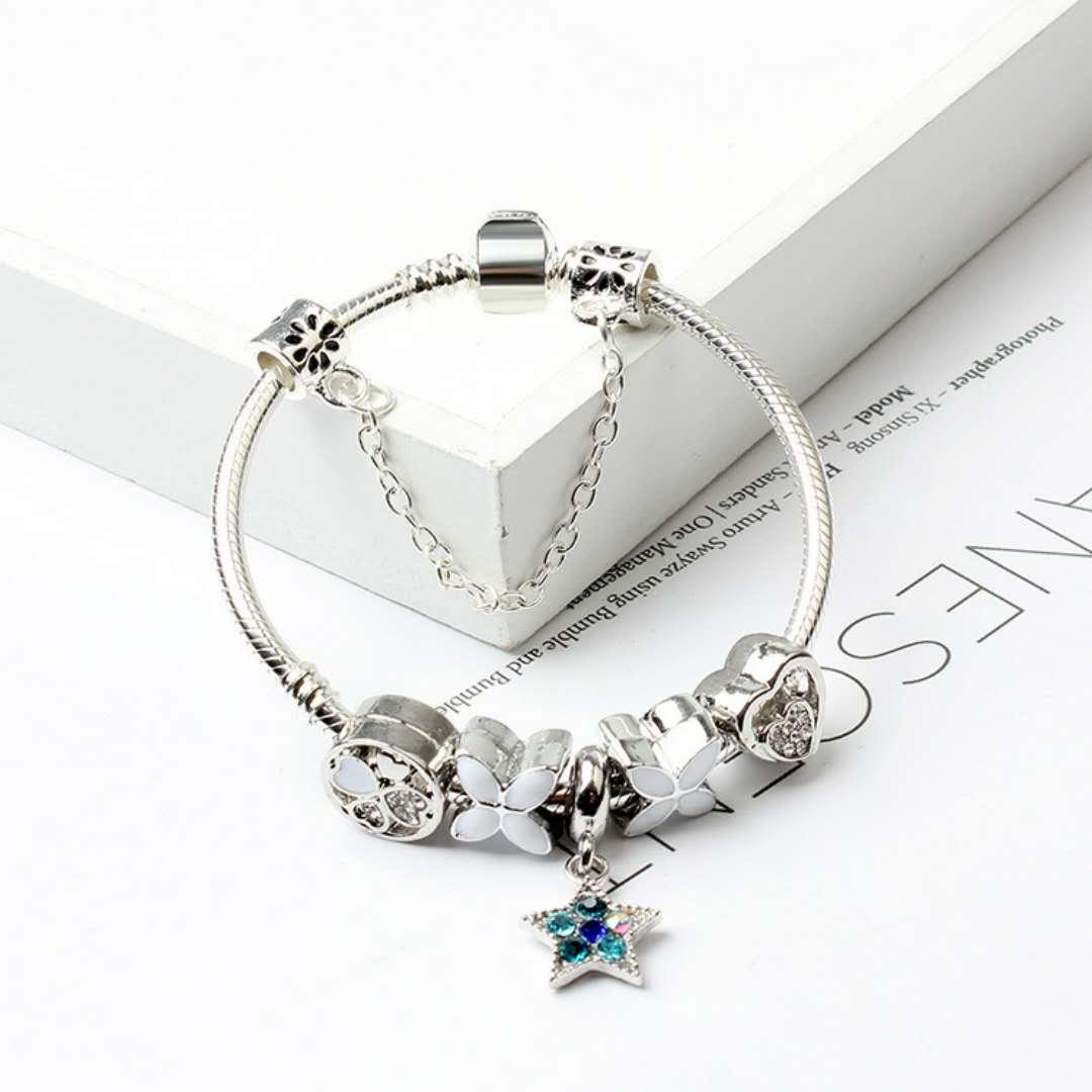 Gros- New Mode Perles Charms Bracelets Style Pandora Bracelet 925 Serpent en argent sterling chaîne Bangles Bijoux bricolage avec logo