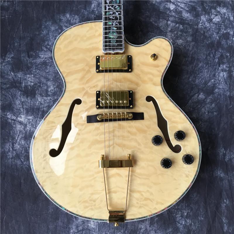 il jazz di alta qualità semi-vuoto doppia chitarra elettrica F, hardware dorato, jazz classico chitarra elettrica. colore del legno grande fiore, colo tastiera