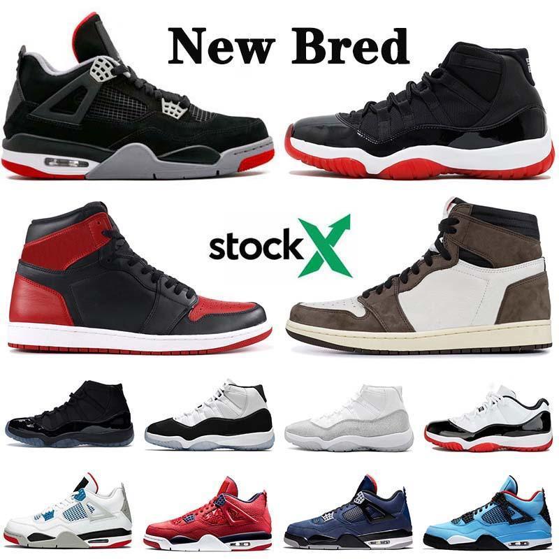 Chegada Nova 2019 Jumpman 4 4s Bred 11 1s Travis Scott 1 Homens Mulheres tênis de basquete prata metálica 11s Concord 45 23 Sneakers
